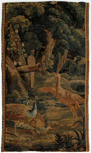 Flemish wool tapestry, 18th c., depicting exotic b