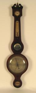English mahogany banjo barometer, early 19th c., 3