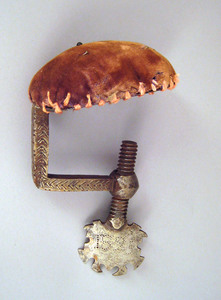 Pennsylvania wrought iron sewing clamp dated 1825,