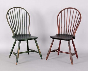 Two Pennsylvania bowback windsor side chairs, ca.7
