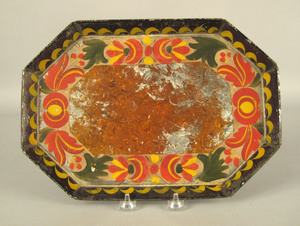 Pennsylvania tole tray, 19th c., with floral decor