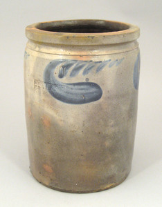 Stoneware crock, 19th c., impressed