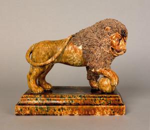 Bennington, Vermont flint enamel lion, ca. 1850, i