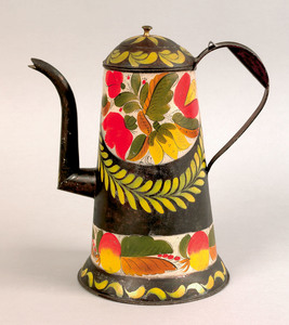 Exceptional Pennsylvania tole coffee pot, 19th c.,