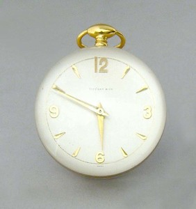 Swiss desk clock retailed by Tiffany & Co., 3 1/2
