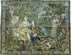 Two tapestries, together with a crewelwork.