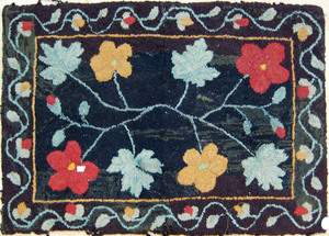 Hooked rug with floral decoration, early 20th c.,'