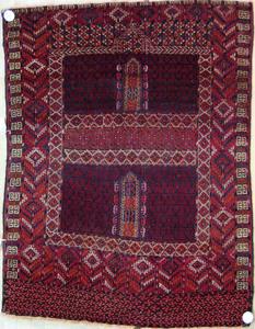 Turkoman throw rug, ca 1920, 4,8