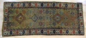 Two Caucasian throw rugs, ca. 1900, 8'4