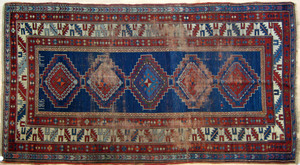 Kazak throw rug dated 1916, 10' x 5'6