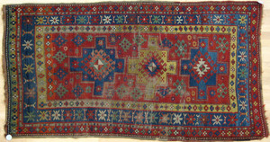 Two Kazak throw rugs, ca. 1900, together with 2 ma