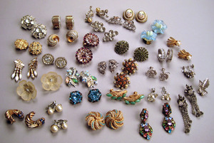 Multiple pairs of rhinestone and colored stone ear
