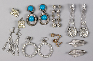 Six pair of rhinestone drop earrings, together wit