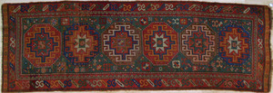 Kazak runner, ca. 1915, with 6 medallions on a gre
