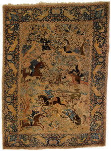 Tabriz throw rug, ca. 1915, with figures hunting o