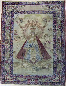 Kirman mat, ca. 1910, depicting the Virgin Mary an