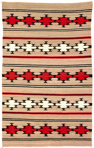 Navajo regional rug with repeating geometric decor
