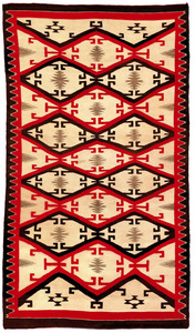 Navajo regional rug in red, brown, and ivory withe