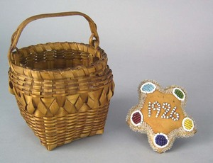 New England Iroquois splint basket with swing hand