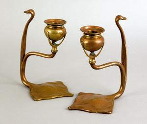 Pair of Tiffany Studios bronze cobra candlesticks,