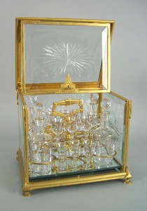 French gilt bronze and glass cased cordial set, ca