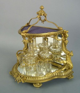 French gilt bronze cordial set, late 19th c., with