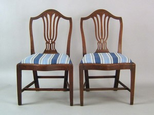 Pair of George III mahogany dining chairs, ca. 179