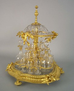 French gilt bronze and glass cased cordial set wit