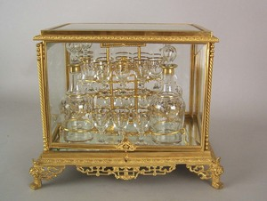 French gilt bronze glass cased cordial set, late 1