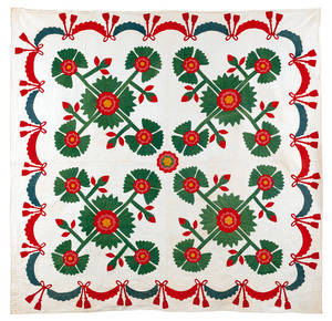 Applique whig rose quilt, 19th c., with swag borde