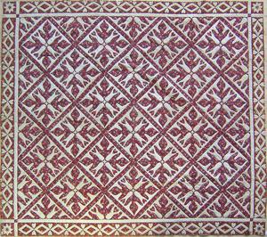 Pieced oak leaf quilt, mid 19th c., 89