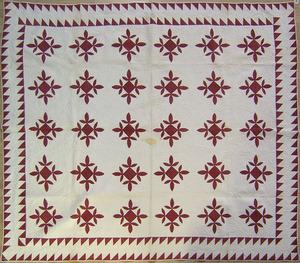 Applique quilt, 19th c., initialed