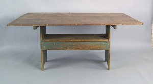 Large painted pine bench table, ca. 1800, retainin