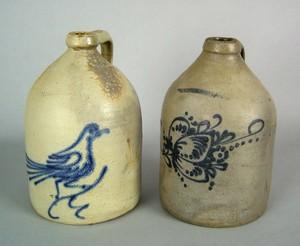 Two stoneware jugs, impressed