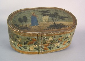 Continental painted pine brides box, early 19th c.
