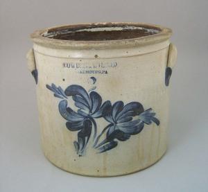 Two gallon stoneware crock, 19th c., impressed