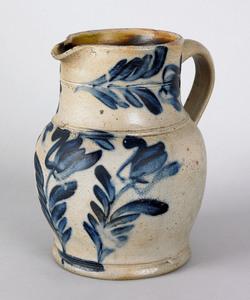 Pennsylvania stoneware pitcher, 19th c., with vibr