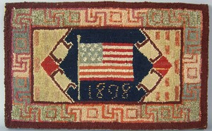 Patriotic hooked rug with American flag dated 1898