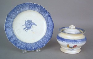 Blue spatter plate, 19th c., with transfer decorat