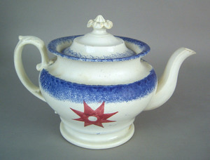 Blue spatter teapot, 19th c., with a star pattern,