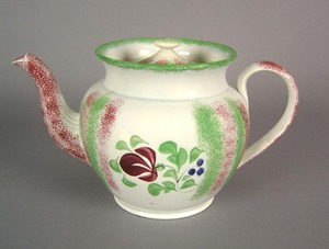 Red and green rainbow spatter teapot, 19th c., wit