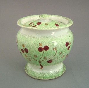 Green spatter covered sugar, 19th c., with vine an