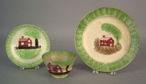 Green spatter cup and saucer, 19th c., with a redc