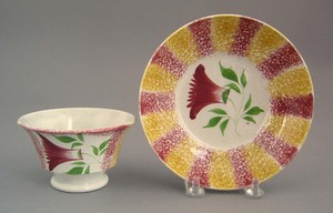 Yellow and red rainbow spatter cup and saucer, 19t