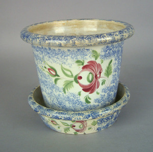 Blue spatter flower pot and undertray, 19th c., wi