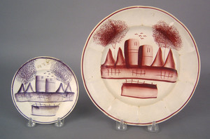 Red spatter plate, 19th c., in the fort pattern, 8