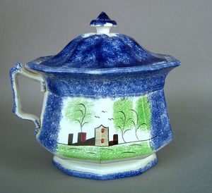 Blue spatter covered pot, 19th c., with fort decor