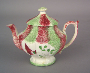 Miniature green and red rainbow spatter teapot, 19