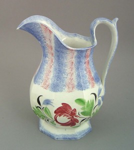 Red and blue rainbow spatter pitcher, 19th c., wit