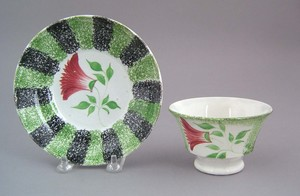Green and black rainbow spatter cup and saucer, 19